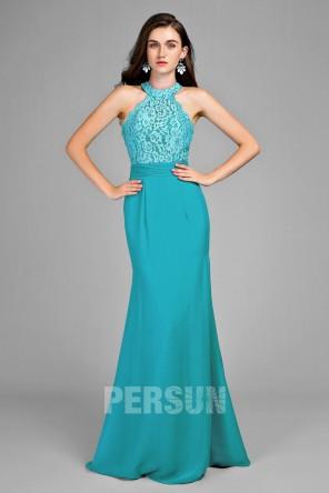 Robe de soirée bleu turquoise sirène haut en dentelle florale
