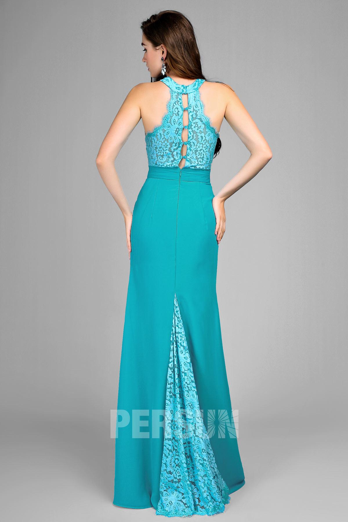 Robe bleu turquoise sirène pour soirée de mariage haut & traîne en dentelle