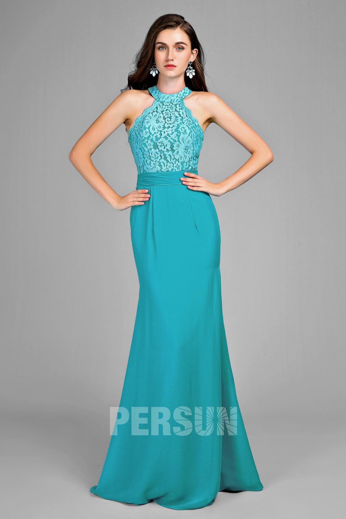 robe de soirée turquoise élégante longue col halter haut en dentelle florale