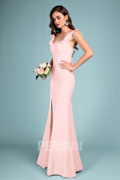 Sexy robe de soirée fendue lilas clair col U à volants