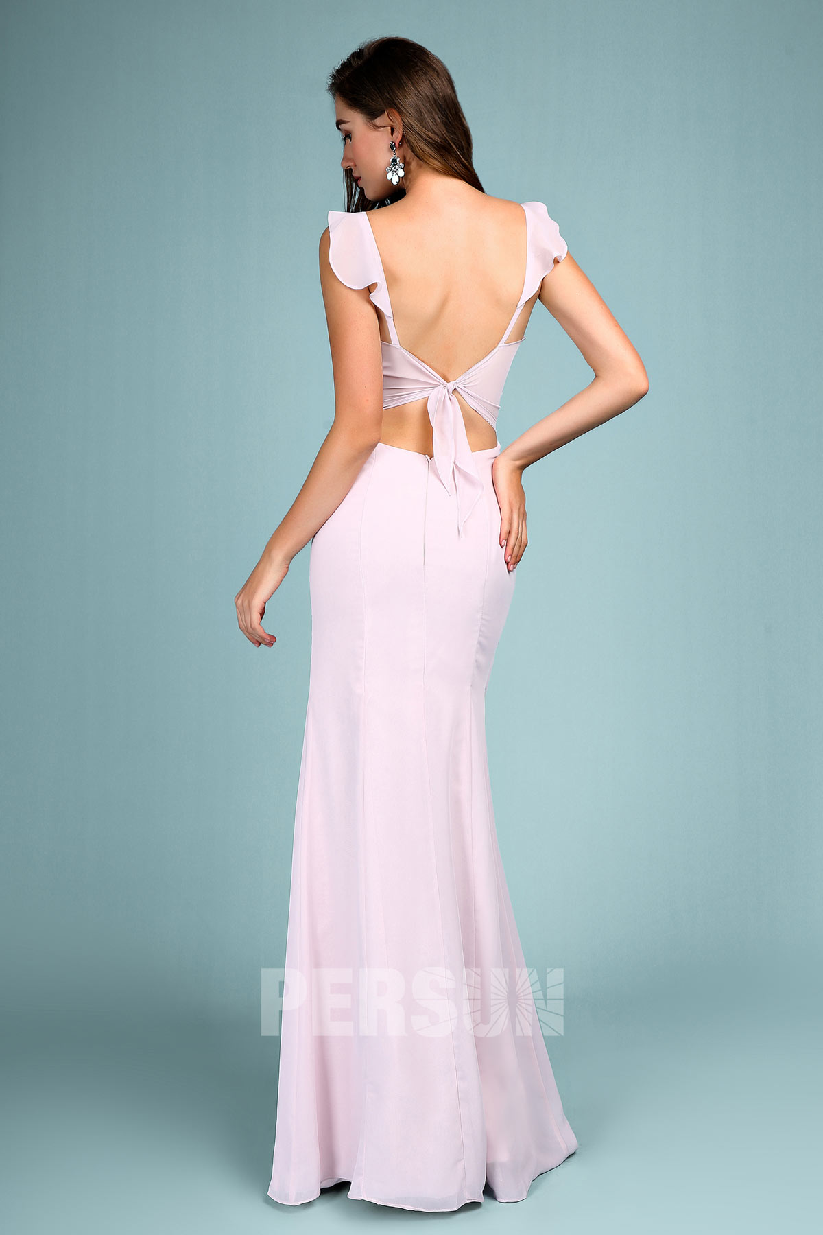 sexy robe de soirée fendue lilas clair col U à volants dos nu
