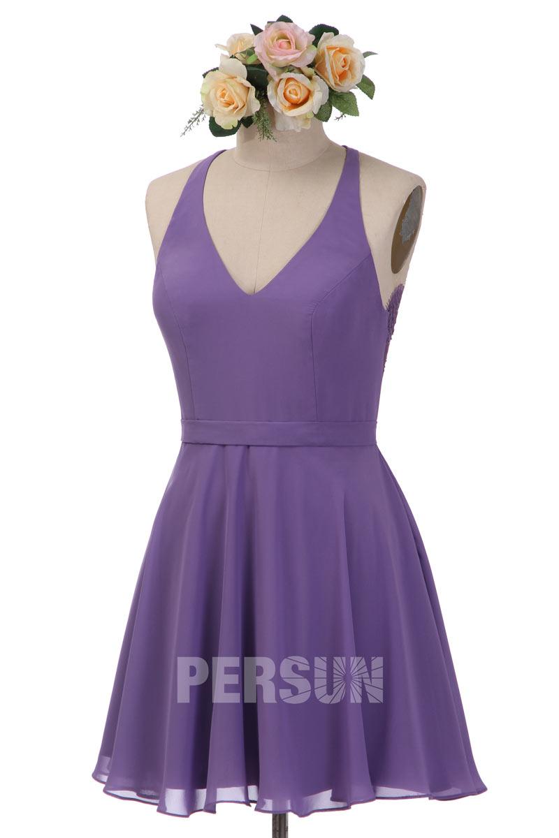 robe de cocktail violette col halter en v dos en dentelle exquis