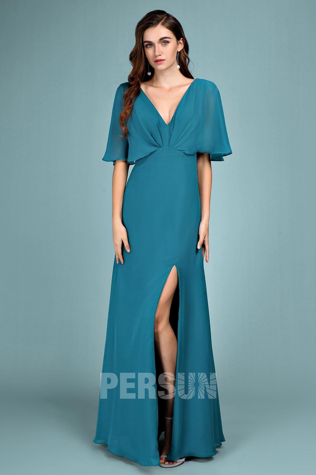 robe de soirée longue vert pin fendue col v avec manche cape
