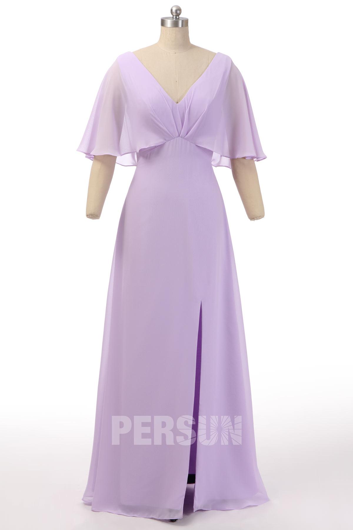 robe de soirée lilas fendue col v manches cape à volant