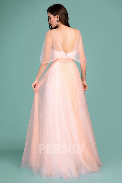 e497820611e Romantique robe pêche clair longue en tulle avec bretelle convertible ...