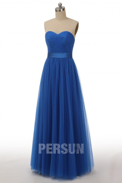 Romantique robe pêche clair longue en tulle avec bretelle convertible pour mariage