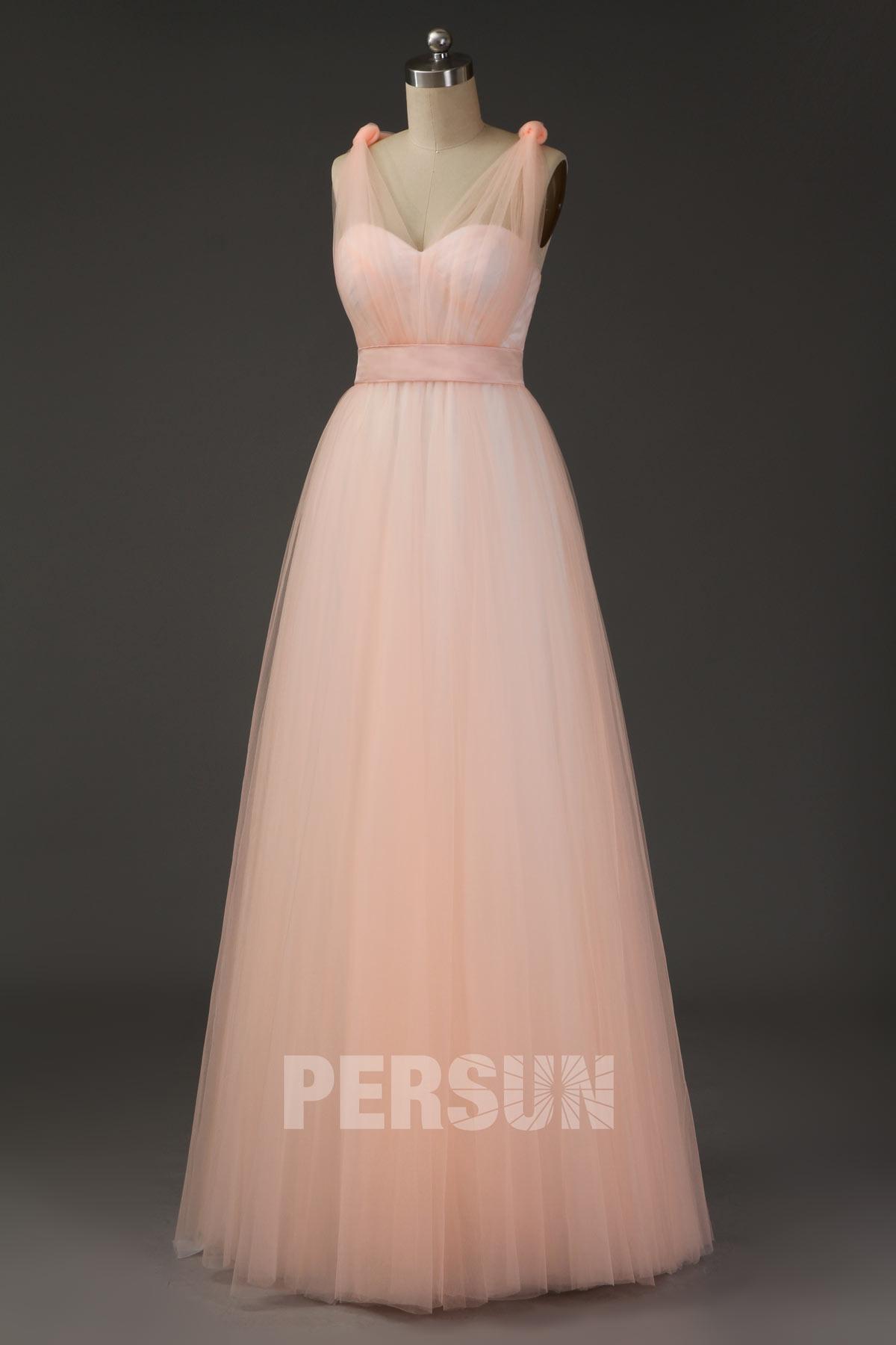 robe cortège mariage longue rose pêche à bretelles