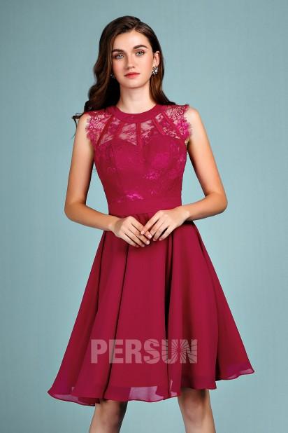 Chic robe de soirée courte bourgogne haut embellie de dentelle pour mariage