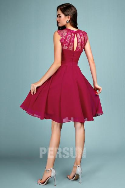 Chic robe de soirée courte bourgogne haut