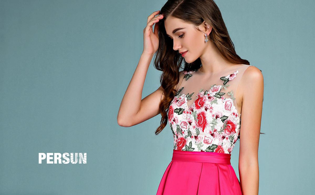 robe d'anniversaire fuchsia romantique 2019 haut en dentelle fleurie