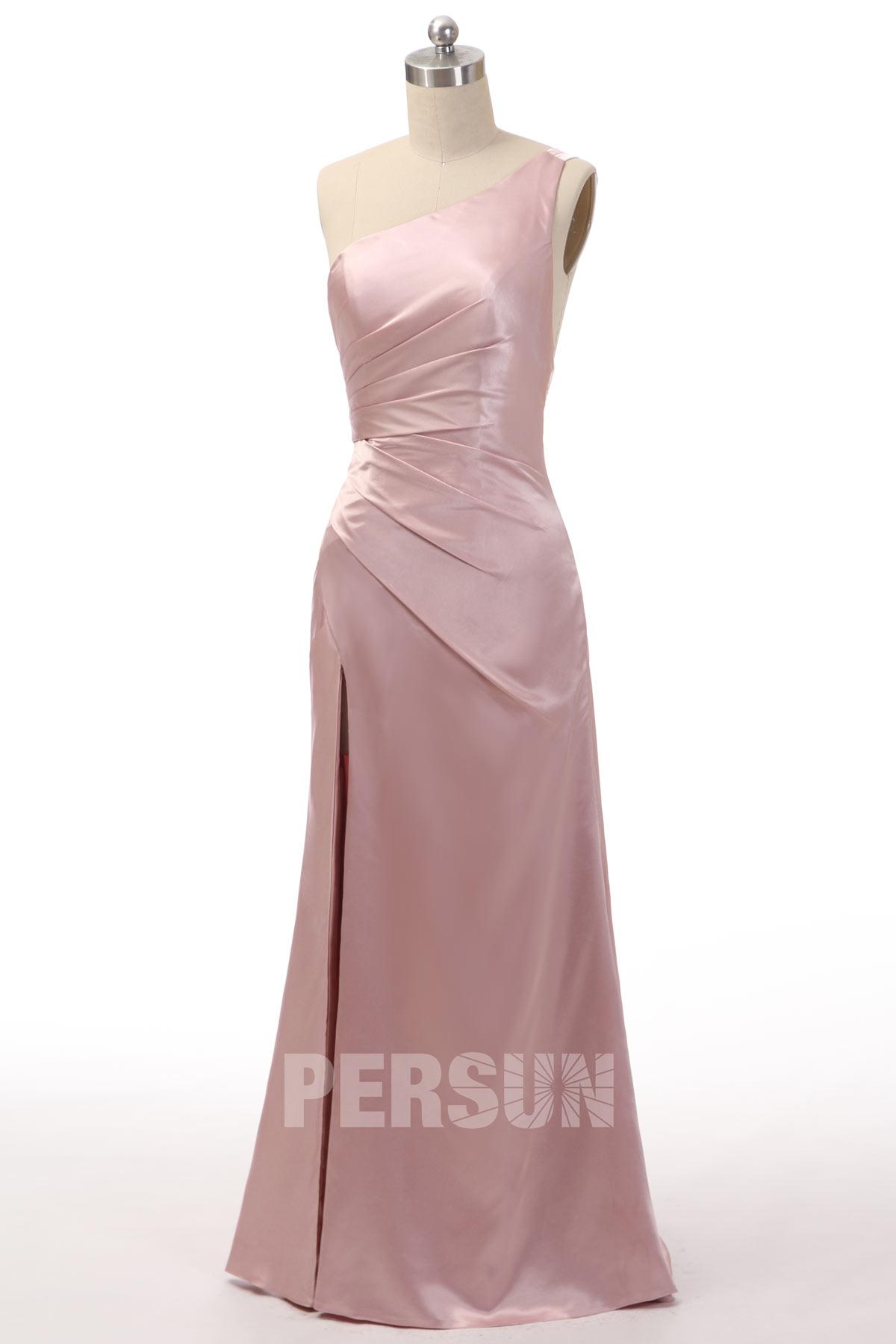 robe de soirée asymétrique fendue sexy rose blush drapé simple