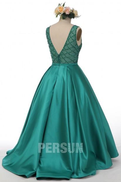 Robe de soirée princesse en satin vert émeraude