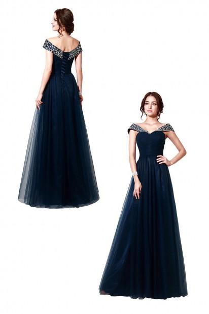 Robe de soirée bleu marine longue princesse épaule dénudé orné de strass