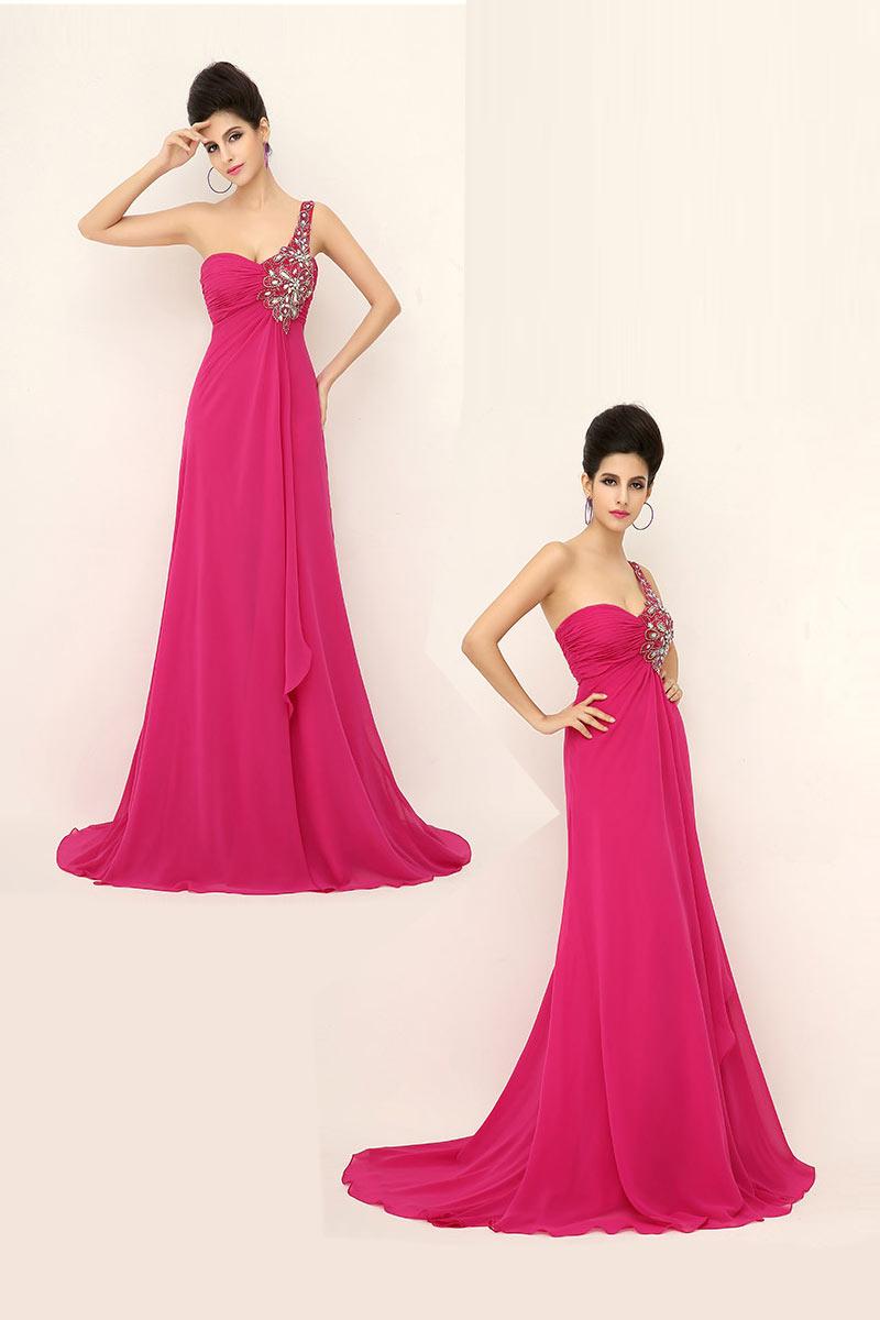Robe de soirée longue rose fuchsia asymétrique brodée de bijoux