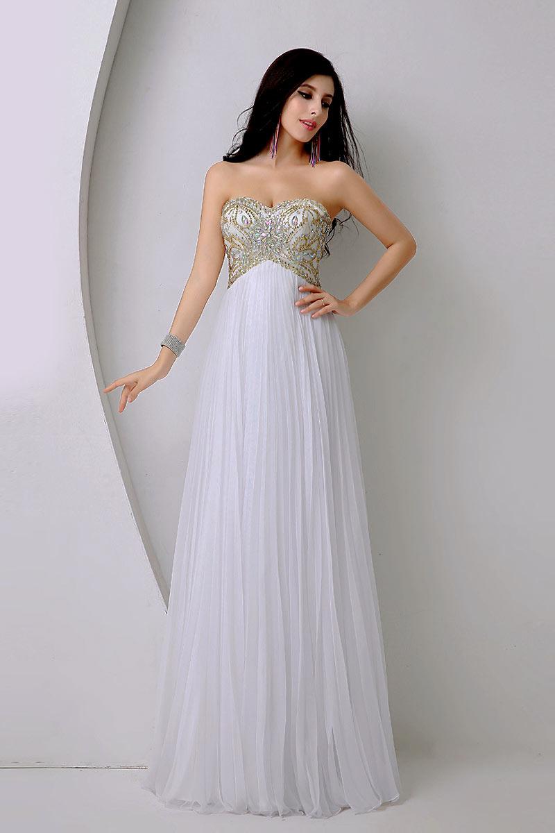 robe de soirée longue blanche baroque jupe plissé bustier coeur ornée de bijoux dorée et strass