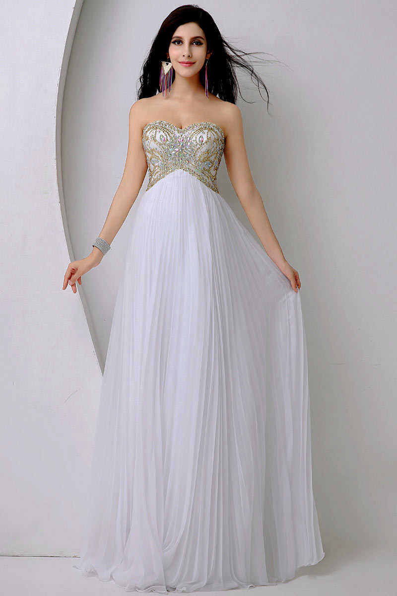 robe de soirée longue blanche empire bustier parsemé de bijoux exquis et jupe plissé