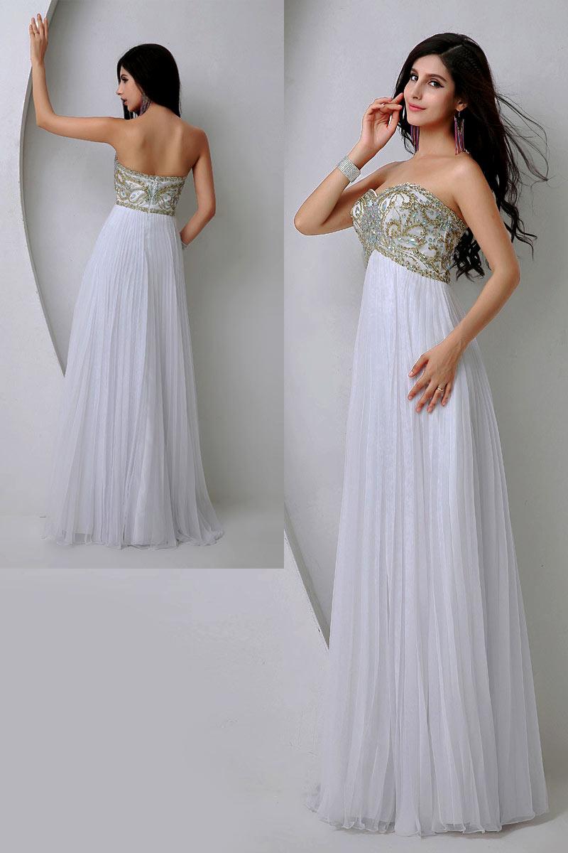 robe longue blanche empire bustier coeur brodé de bijoux pour pomme