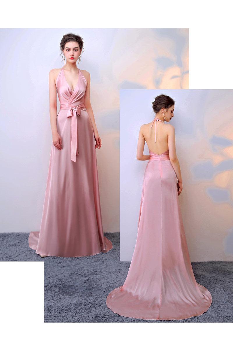 sexy robe de cocktail longue rose col halter cache-coeur dos nu avec traîne