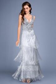 Sexy Abendkleid Silber Pailletten Rückenfrei Eintauchen V-Ausschnitt und gefranster Perlen Rock 2019