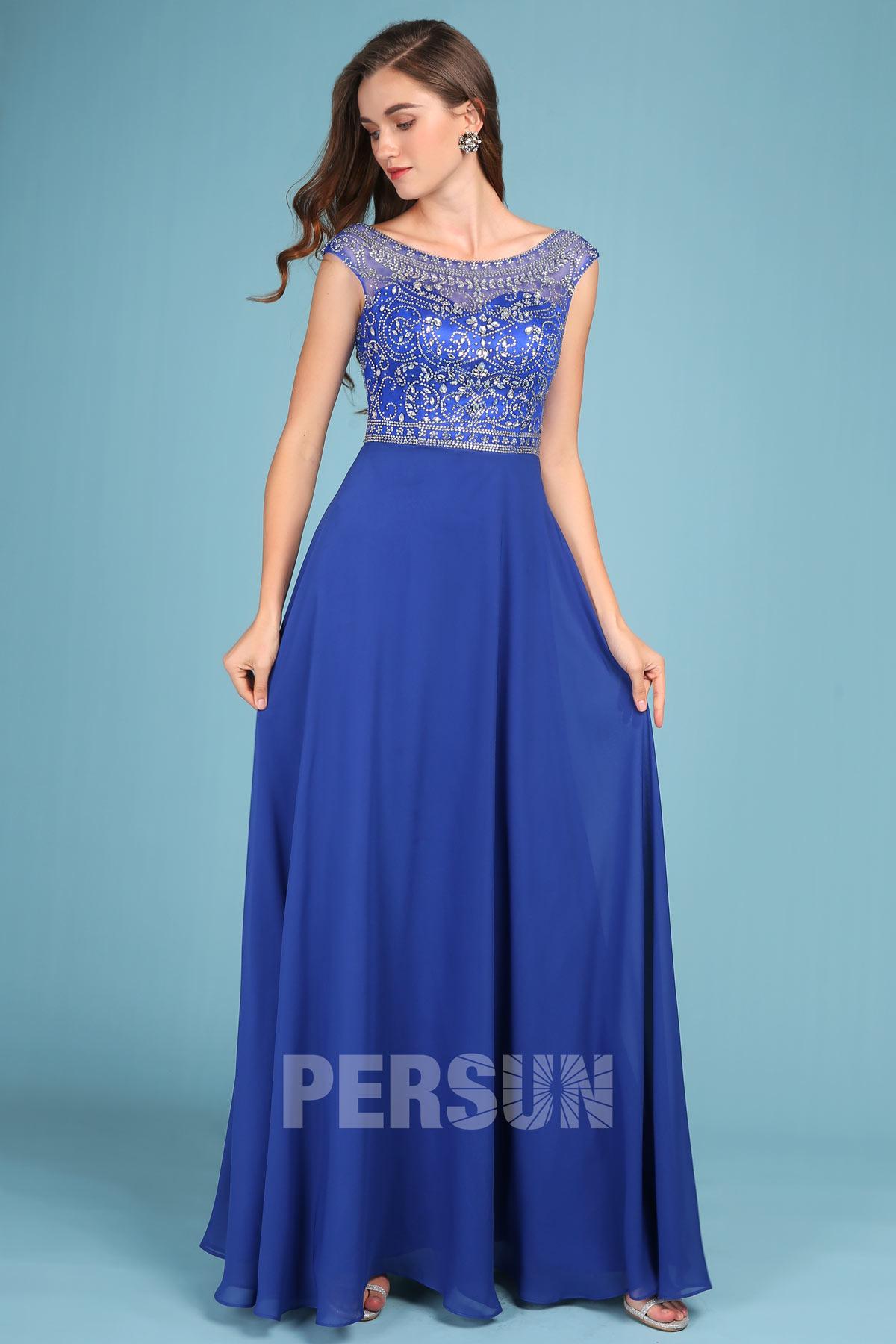 robe de soirée bleu classique longue col illusion embelli de strass dos ouvert