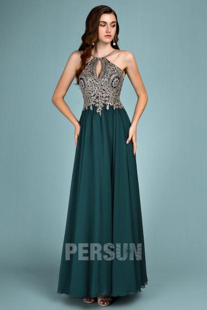 robe de bal verte longue haut appliqué de dentelle guipure dorée