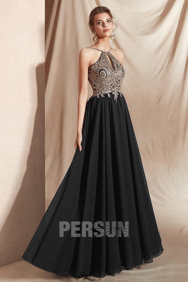 robe de soirée noire longue haut en dentelle appliquée dorée bustier découpé