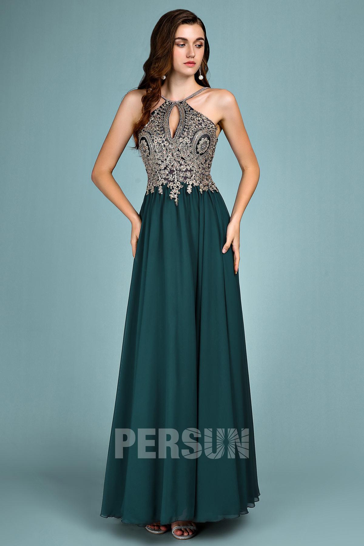 robe de soirée longue vert col halter haut en dentelle appliquée