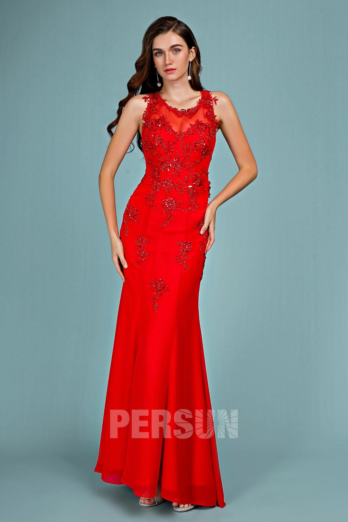 robe de soirée sirène rouge col illusion appliquée de dentelle florale