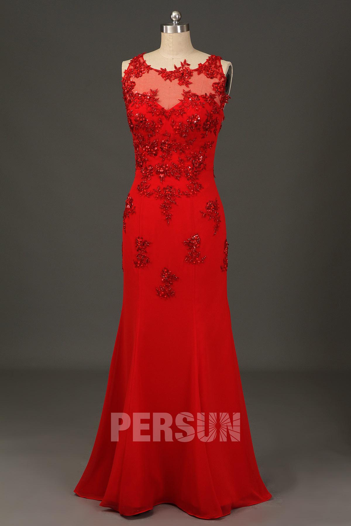Robe de gala rouge sirène appliquée de guipure & paillettes