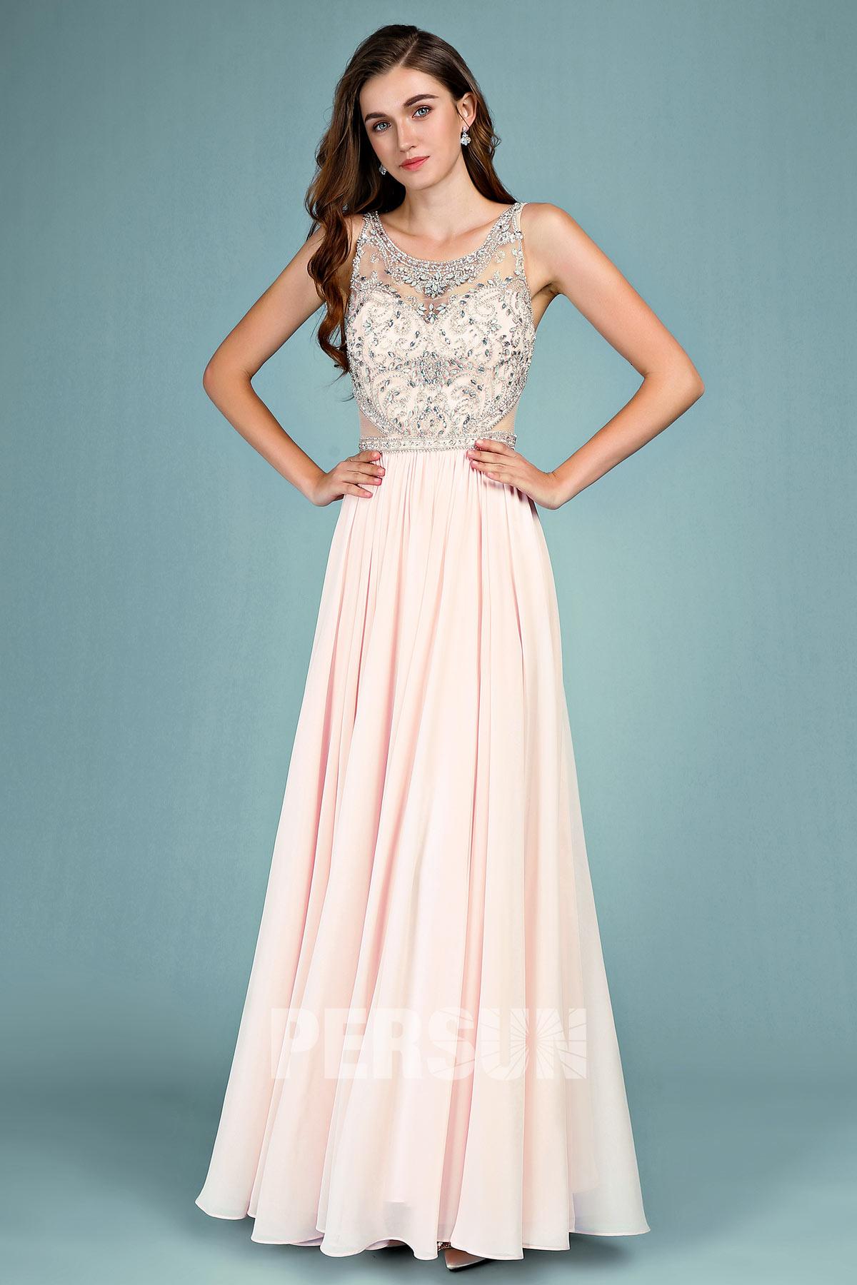 robe de soirée rose longue col oval illusion embelli de bijoux sur persun.fr