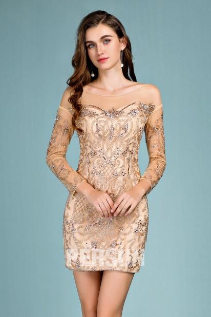 robe de bal champagne fourreau avec manche longue embellie de strass