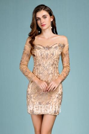 Sexy robe de cocktail champagne fourreau à manche longue embelli de bijoux