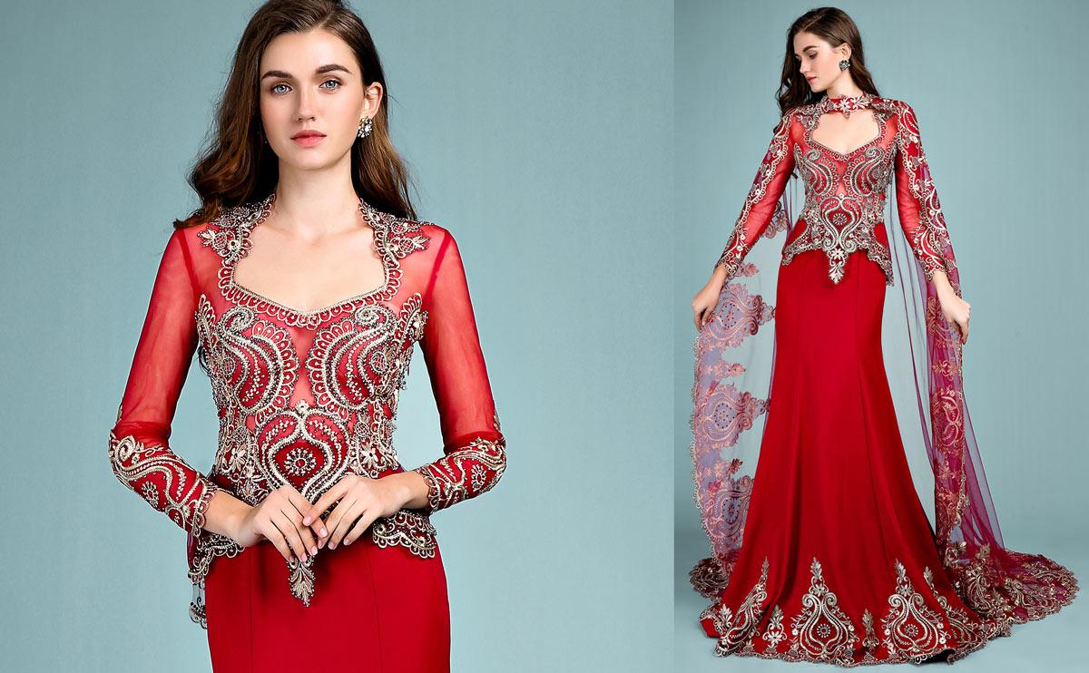robe de maraige rouge style indien tendance 2019 avec broderies dorées