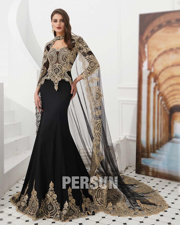 robe de soirée splendide noire avec guipure doré
