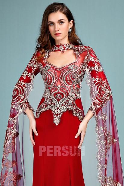 82c59877abd Anju   Robe de mariée rouge style indien manche longue guipure dorée