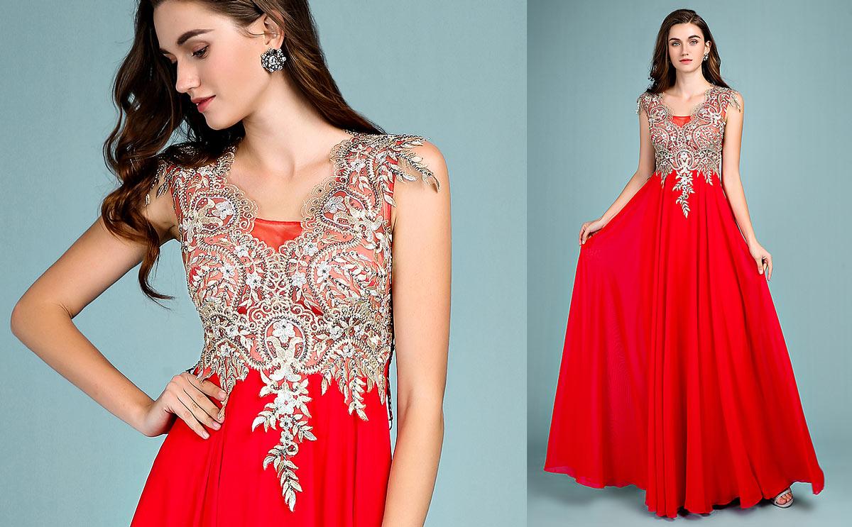 robe de fiançailles rouge longue ligne A 2019 appliqué de dentelle guioure dorée