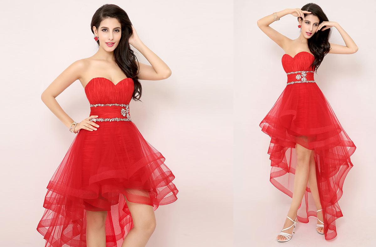 robe rouge bustier coeur courte devant longue derrière jupe à volants pour mariage