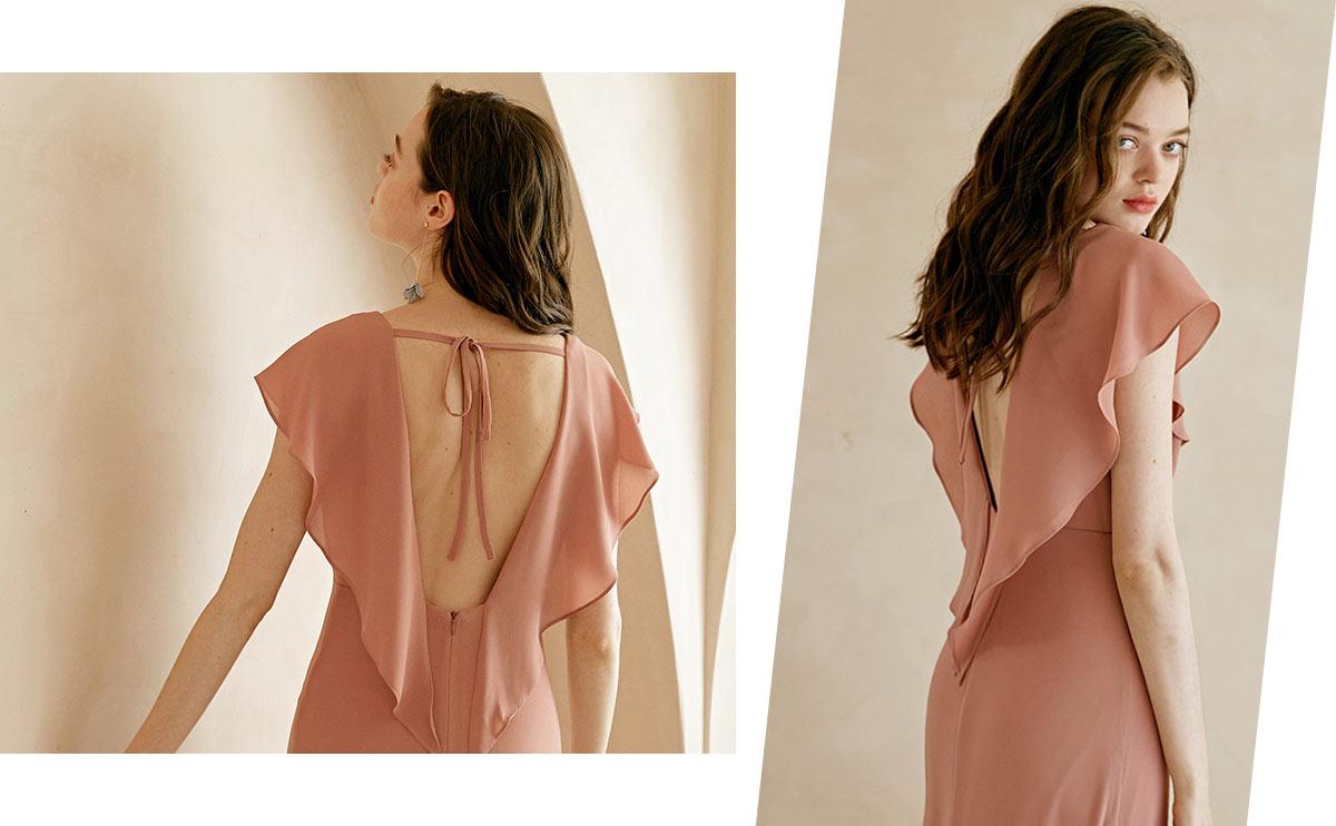 robe demoiselle d'honneur longue rose carnation dos nu