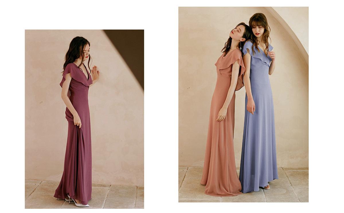 robe longue bohème pour mariage vieux rose à volants
