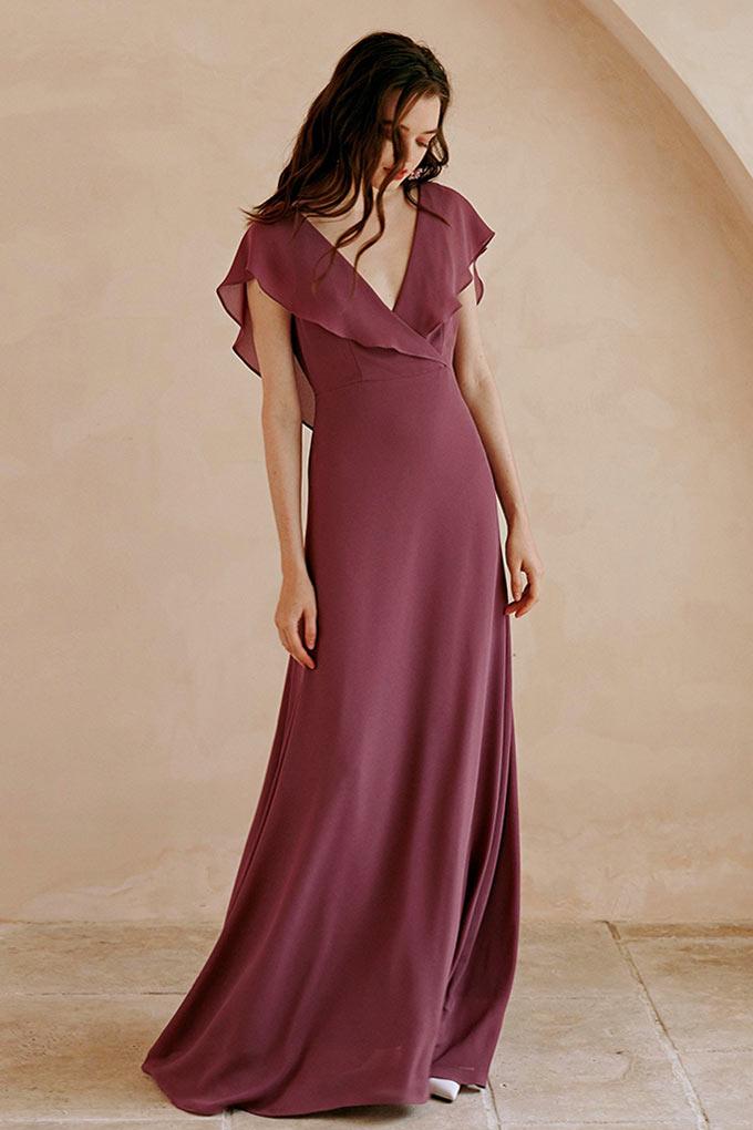 robe de soirée empire col v longue à manche courte volant