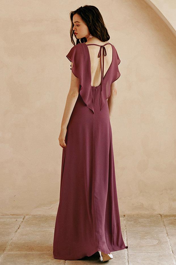 robe longue bohème couleur vin dos nu à volants