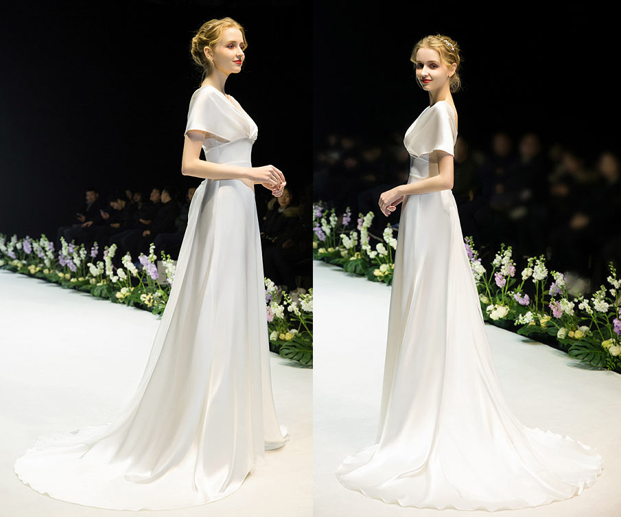 robe de mariée 2020 fluide décolleté v plongeant mancherons à traîne