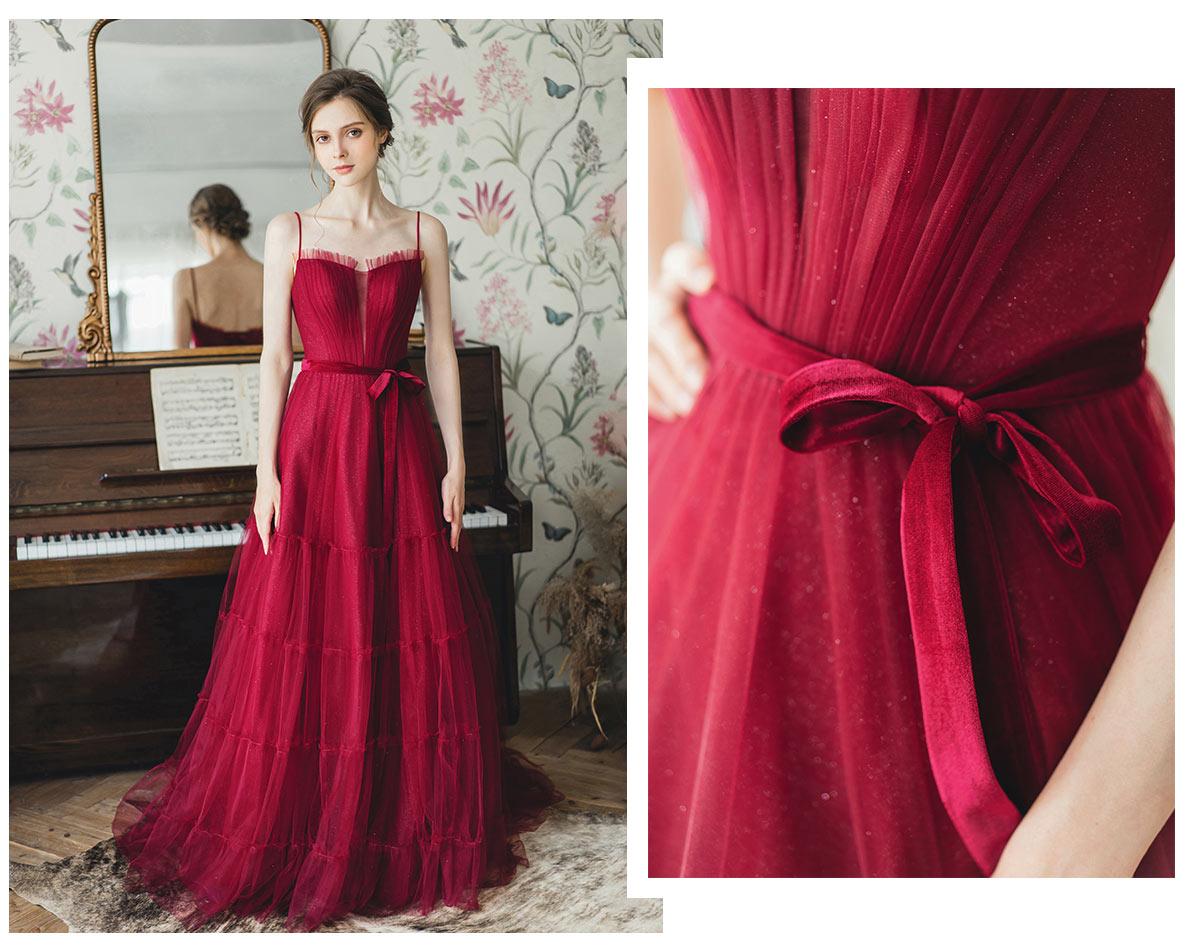 robe de mariée 2020 moderne rubis en paillette col v plongeant à bretelle fine