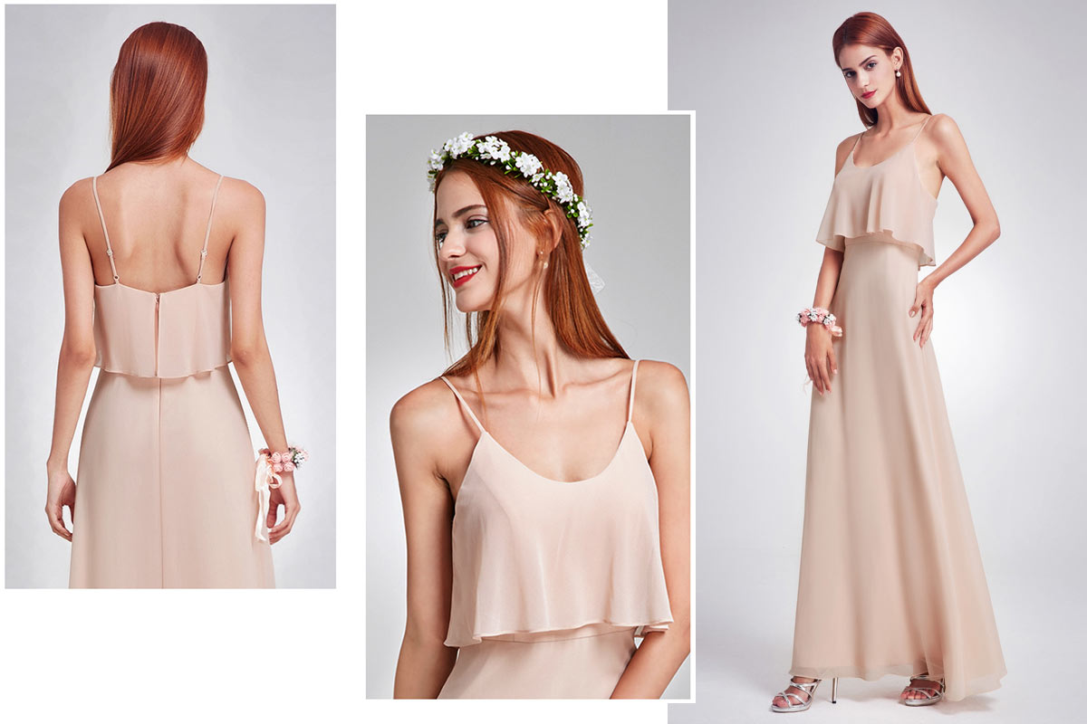 robe demoiselle d'honneur longue champagne clair simple bustier à volant avec bretelle fine