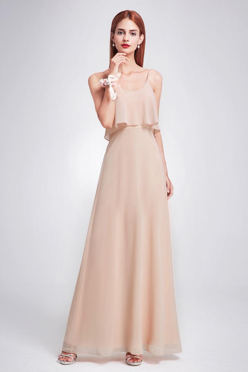 robe demoiselle d'honneur longue champagne claire simple bustier à volant bretelle fine