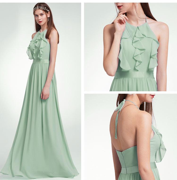 robe longue simple vert pâle à col américain pour mariage
