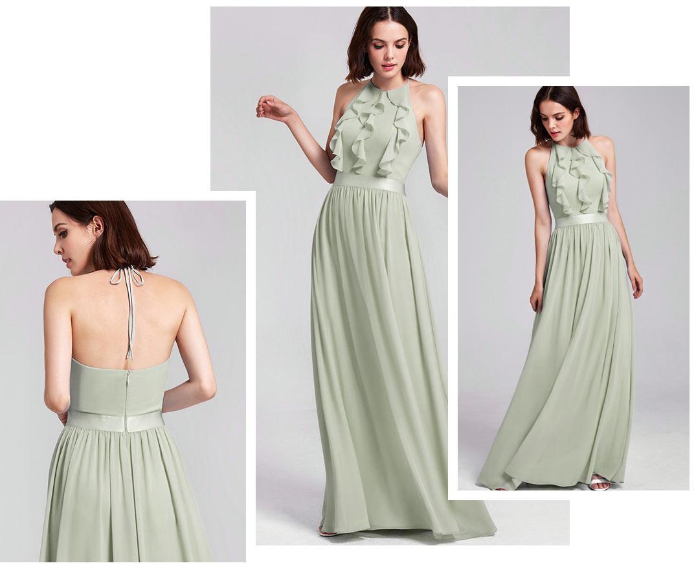 robe de soirée chic longue vert eau col halter bustier à voalnt