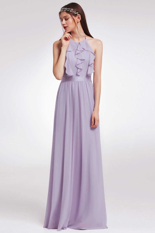 robe demoiselle d'honneur longue lilas col halter bustier froufrou