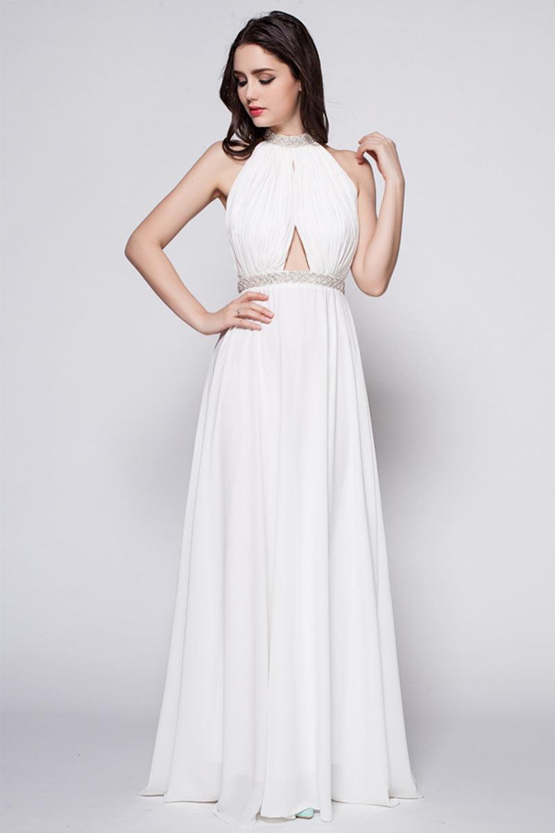 robe de soirée blanche longue col halter bustier drapé embelli de perles