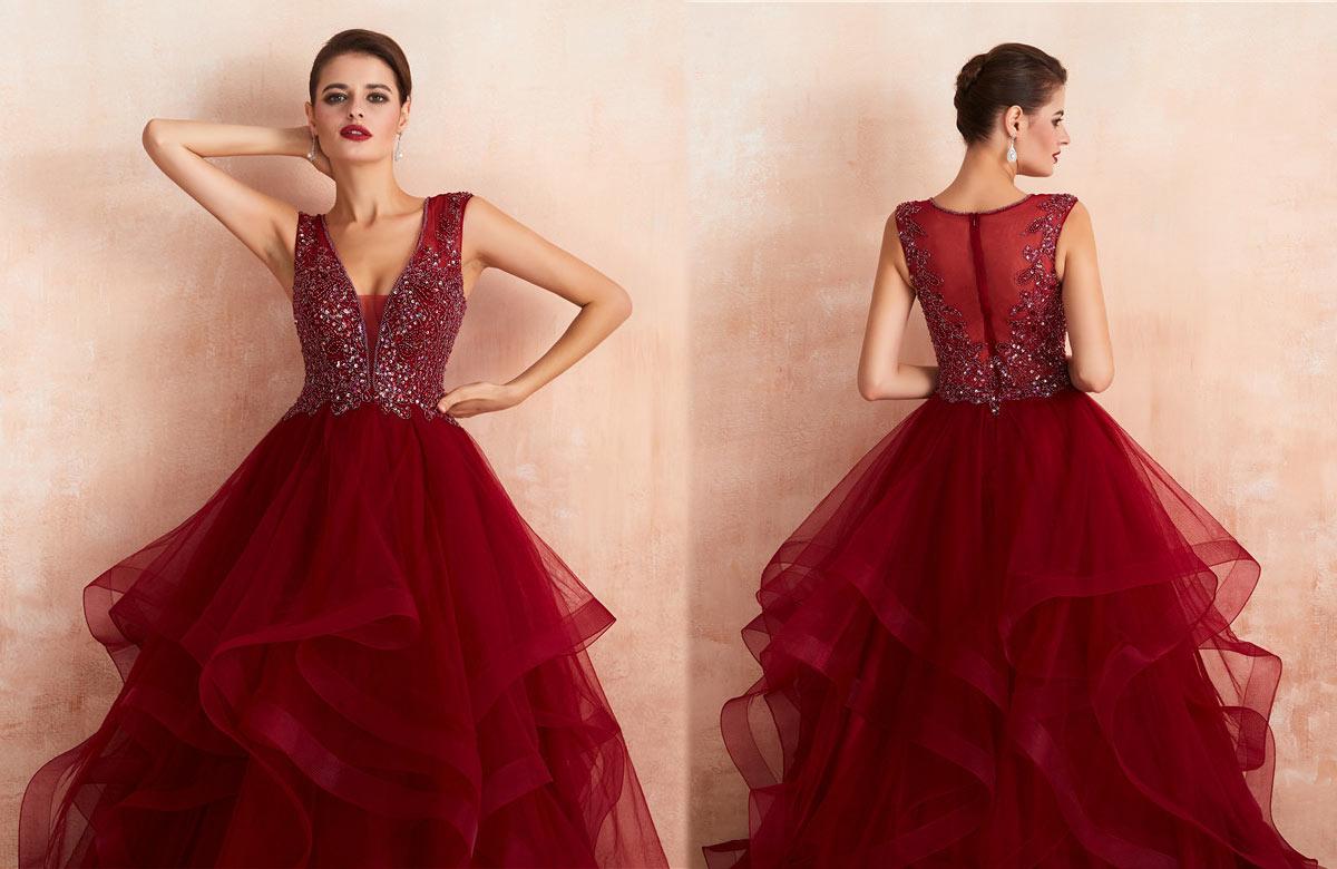 robe mariée princesse rouge vin 2020 à col v